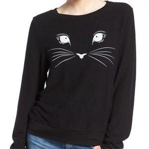 Wildfox black cat face baggy beach jumper L